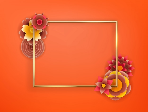 Blank frame with abstract color flowers.