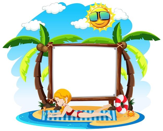 여름 테마와 빈 프레임