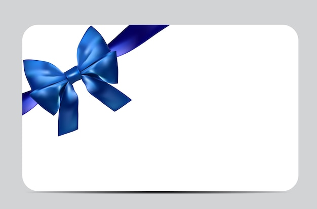 Blank gift card template with blue bow and ribbon.