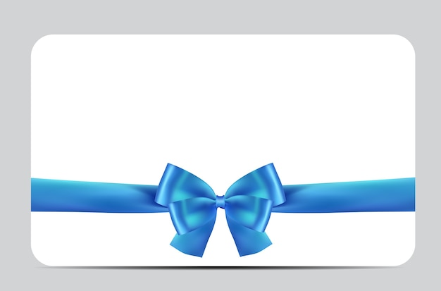 Blank gift card template with blue bow and ribbon