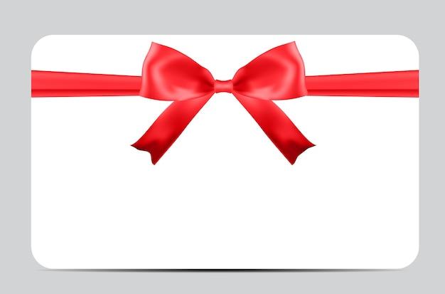 赤い弓とリボンの空白のギフトカードテンプレート。