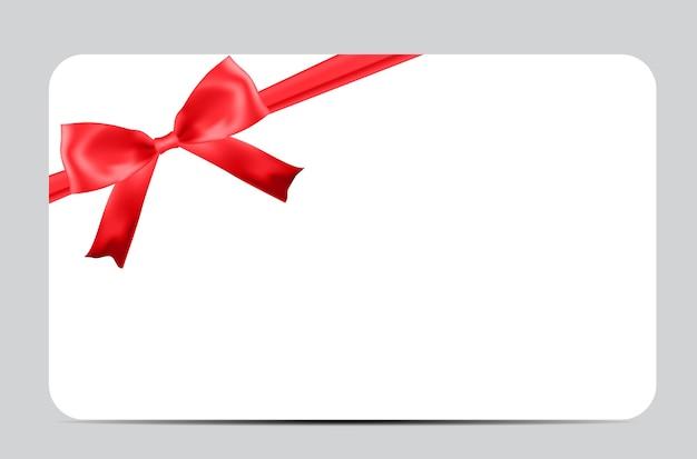 Пустой шаблон подарочной карты с красным бантом и лентой