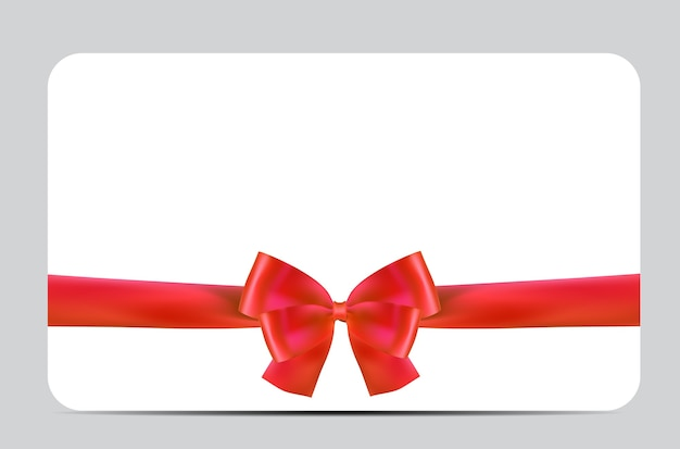 Blank gift card template with red bow and ribbon.