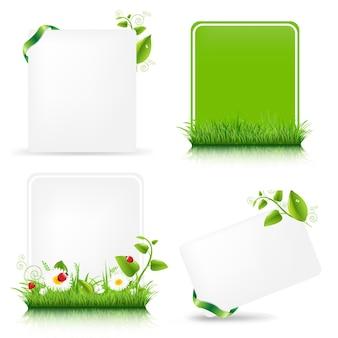 グラデーションメッシュで設定された緑の葉と空白のギフトタグ