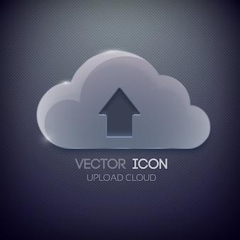 빈 유리 구름과 위쪽 방향 화살표