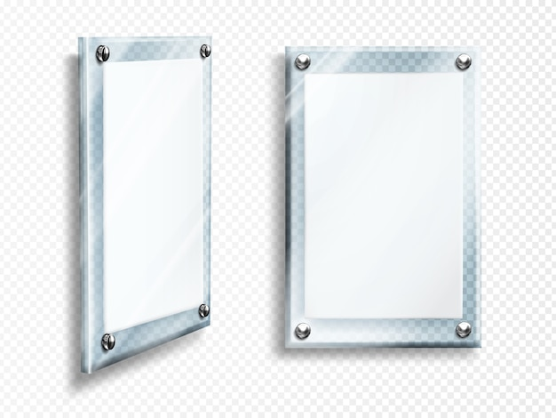 Blank glass frames hang on wall isolated