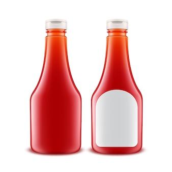 分離された白いラベルでブランディングのための空白のガラスプラスチック赤いトマトケチャップボトル