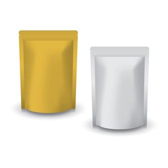 食品用のブランクゴールドとシルバーのスタンディングジップロックバッグ。