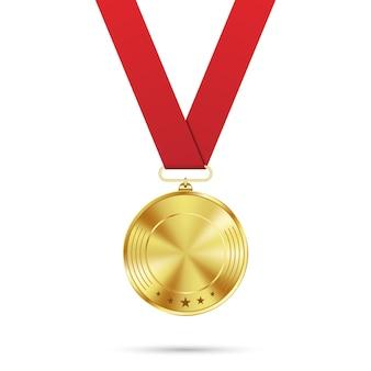 Пустая золотая медаль с шаблоном красной ленты изолированы