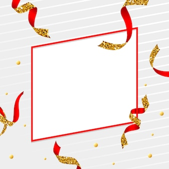 Blank golden and red emblem with confetti vector