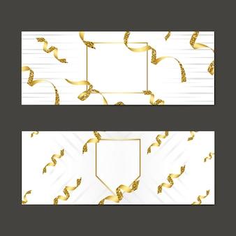 Blank golden emblem with confetti set