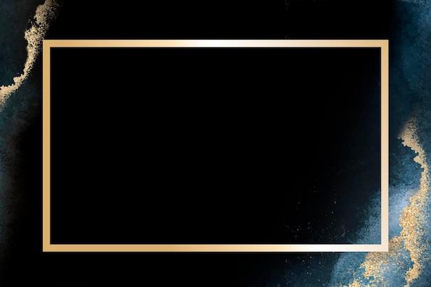 Пустой золотой прямоугольник рамка вектор