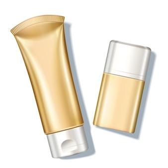 Пустая золотая бутылка солнцезащитного крема в углу обзора, 3d иллюстрация