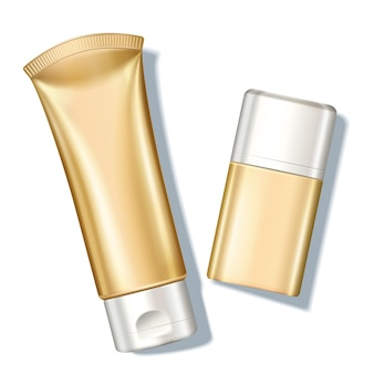Blank golden sunscreen bottle in top view angle, 3d illustration