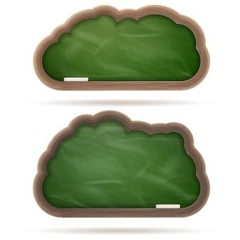 空白の緑の黒板クラウドセット。