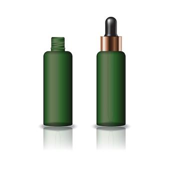 空白の緑色の透明な丸い化粧品のボトル、黒色の滴下蓋付き。
