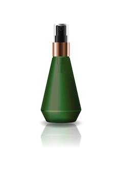 空の緑色の円錐形の化粧品のボトル