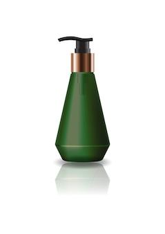 Пустая зеленая косметическая бутылка с конусом с головкой насоса.