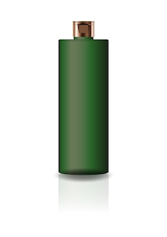Blank green cosmetic cylinder bottle with cap lid.