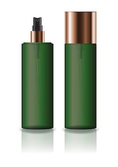 プレススプレーヘッド付きの空の緑色の化粧品シリンダーボトル。