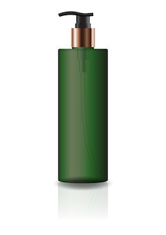 Blank green cosmetic cylinder bottle with pump head.