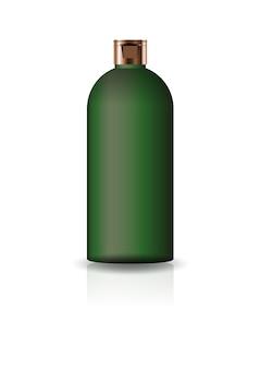 空の緑色の化粧品ラウンドボトル、蓋付き。