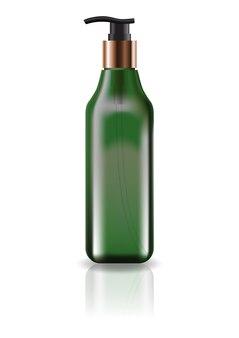 空の緑色の化粧品スクエアボトル、ポンプヘッド付き。