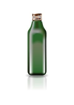 ブランク緑の化粧品スクエアボトル、スクリューフタ付き。