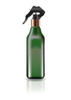 Blank green cosmetic square bottle with spray head.