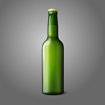 Blank green realistic beer bottle isolated on grey background  and branding.