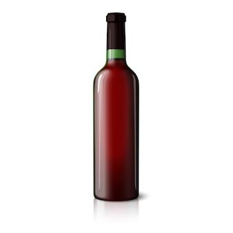 Пустая зеленая реалистичная бутылка для красного вина изолирована