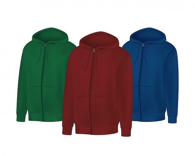 空白の緑、赤、青のメンズパーカースウェットシャツ長袖。フードフロントビューの男性フーディ。白い背景で隔離のスポーツ冬服