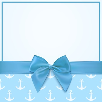 Blank greeting card template for baby boy shower celebration or baby boy announcement card.