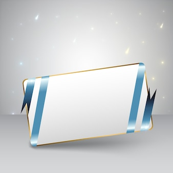 Blank greeting card with blue ribbon and golden frame with lights flat