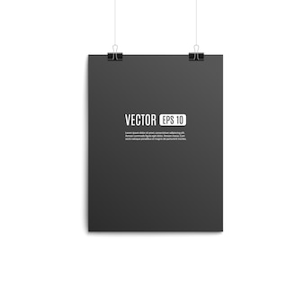 Blank hanging paper poster  with template - illustration.