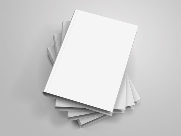 Blank hardcover books pile up on light grey background in 3d illustration