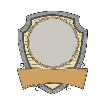 Blank heraldic frame in vintage hand drawn