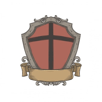 Blank heraldic shield emblem