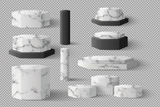 Пустой шестиугольник блок мраморный шаблон с тенью. концептуальный подиум сценическая витрина