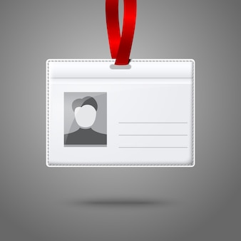 Blank horizontal badge holder with place for photo and text