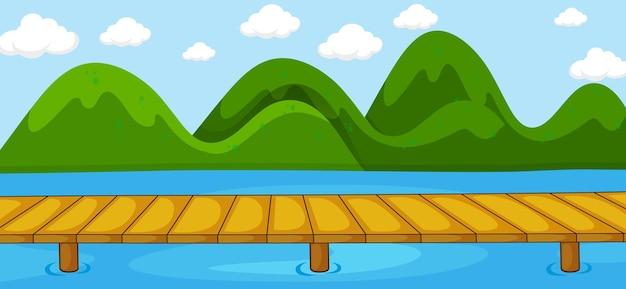 川が公園を横切る空白の水平方向のシーン