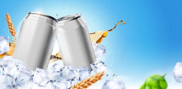 Пустой ледяной холодный напиток алюминиевая банка на кубиках льда на синем фоне, 3d иллюстрация