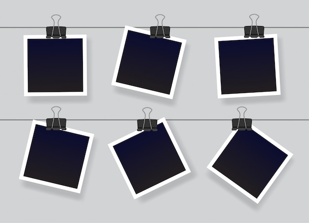 Blank instant photo frame set hanging on a clip. black empty vintage photo frames templates.  illustration isolated on grey background.