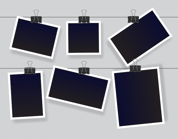 Blank instant photo frame set hanging on a clip. black empty vintage photoframe templates.  illustration isolated on grey background.