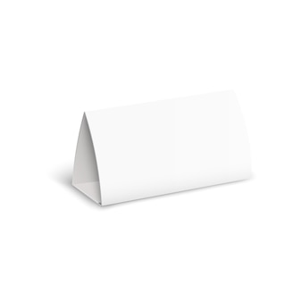 広告テンプレート、カレンダーまたは名前タグの現実的な影と空白の孤立した紙スタンド。ベクトルイラスト