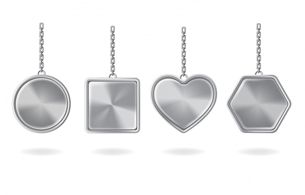 Blank keychains set. silver pendants with round, square, heart and hexagon shapes
