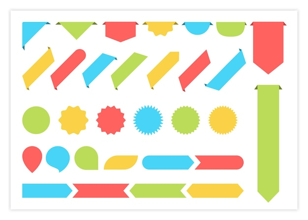 Blank label ribbon colorful vector set illustration big collection of curved shapes color ribbons