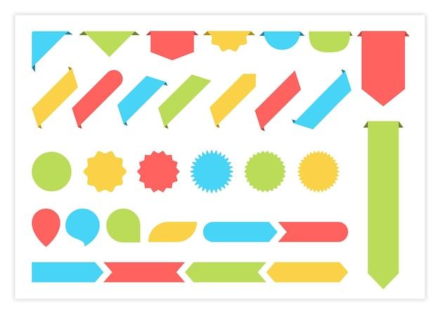 빈 레이블 리본 다채로운 벡터 설정 그림 곡선 모양 컬러 리본의 큰 컬렉션