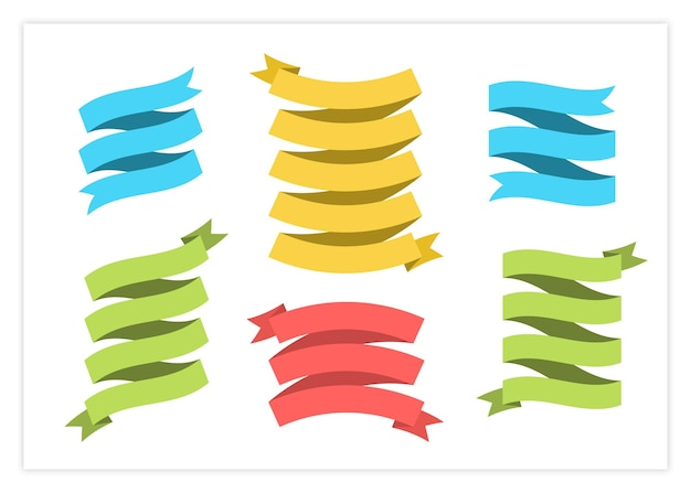 Blank label ribbon vector set illustration vintage design curly ribbon labels and curved scroll
