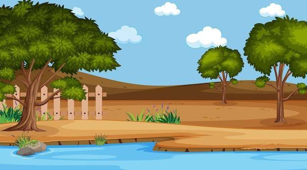 자연 공원 장면에서 빈 풍경